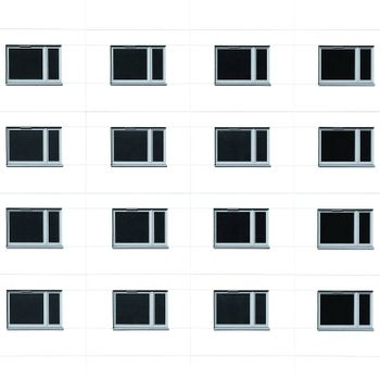 Modern residential building windows background. Monochromatic square picture