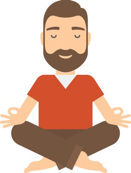 Man meditating. Concept flat cartoon vector icon.