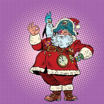 Santa Claus pirate and penguin okay gesture