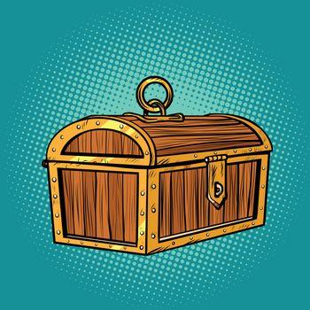 Pirate wood treasure chest closed
