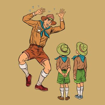 The scoutmaster is afraid of insects