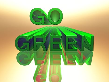 the word go green in 3 D letters and green color