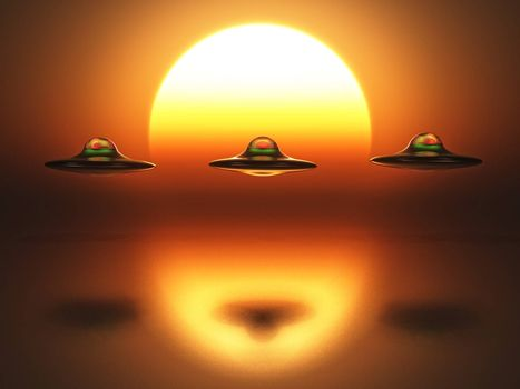 three spaceship on sunset background