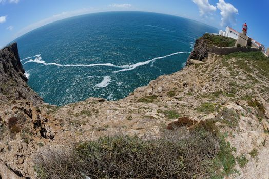 Fisheye view of Saint Vincent Cape and lighthouse in Algarve, Portugal