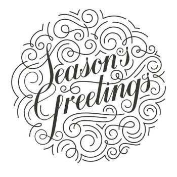 Seasons Greetings vector Christmas card. Original calligraphy.