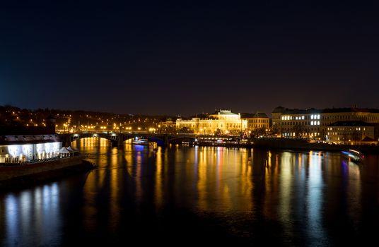 Night photo Prague river Vltava