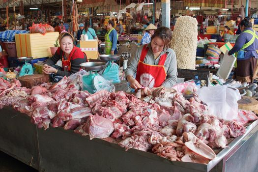 Daily market, Pakxe, Laos