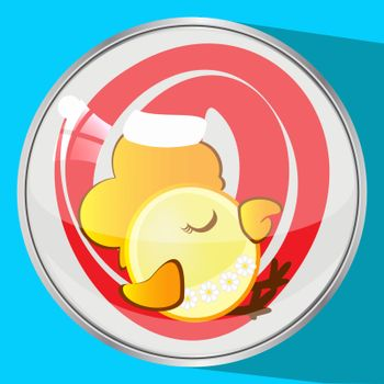 the icon picture a cockerel in  red cap to sleep new year and Christmas  symbol  rooster chicken the button reflection has flown down.  spend for design, the press, t-shirts. vector illustration.
