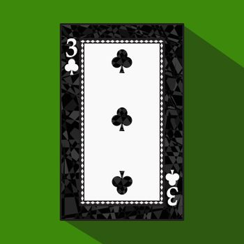 playing card. the icon picture is easy. CLUB THREE 3 about dark region boundary. a vector illustration on a green background. application appointment for website, press, t-shirt, fabric, interior, registration, design