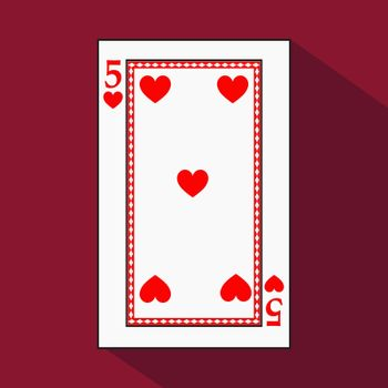 playing card. the icon picture is easy. HEART FOUR 5 with white a basis substrate. a vector illustration on a red background. application appointment for website, press, t-shirt, fabric, interior, registration, design.POKER