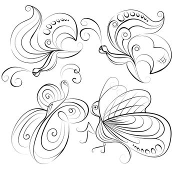 Illustration - four different butterflies without a fill color on a white background