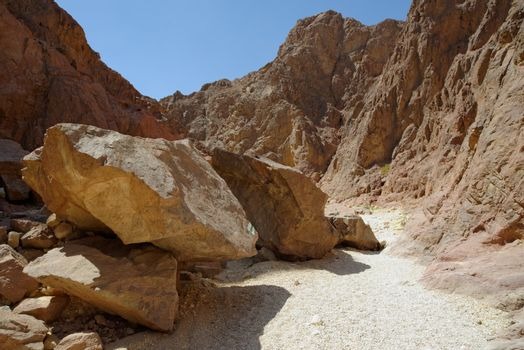 Scenic boulders in the desert canyon, Israel