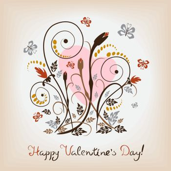 Card with an elegant floral pattern for Valentines Day