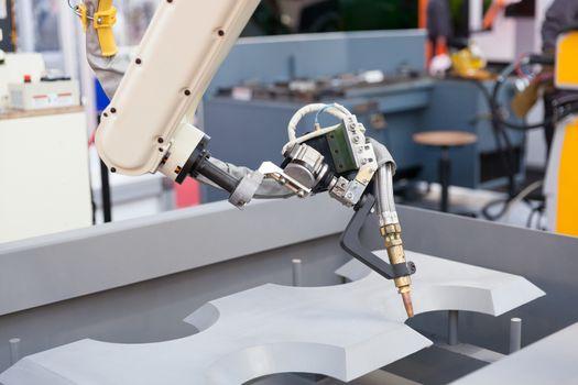 Industrial welding robot arm