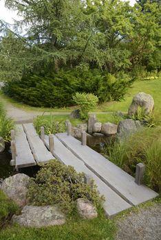 Japanese Garden with no people in Bergianska Botanical Garden. Bergianska Botanical Garden is a public garden located in Frescati next to Brunnsviken, at Norra Djurgården in Stockholm - Sweden.
