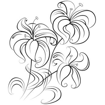 Illustration - stylized bouquet of flowers similar to a lily in a colorless version