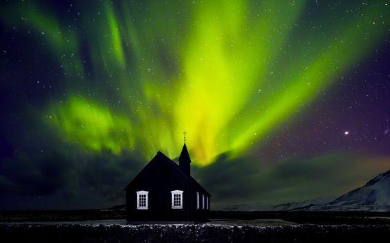 Beautiful Northern light over church