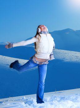 Having fun in winter mountains