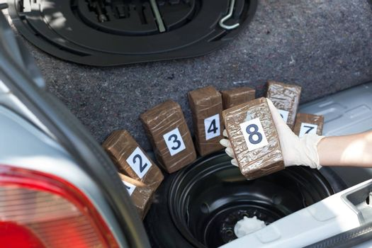Crime scene: Drug packages hidden in the trunk of a car