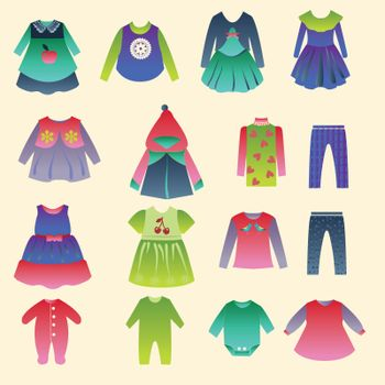vector set with collection of children's fashion clothing  - Illustration