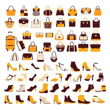Silhouette vector icon set of men's  and of women's shoes fashion Footwear and bags. Collection of fashion accessories  - Illustration
