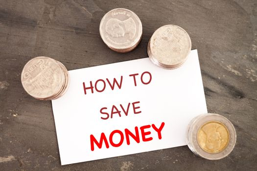 How to save money inspirational quote, stock photo
