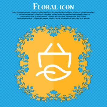 Shopping bag icon. sign. Floral flat design on a blue abstract background with place for your text. Vector