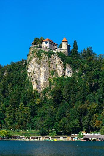 Old medieval castle above Bled lake in Slovenia