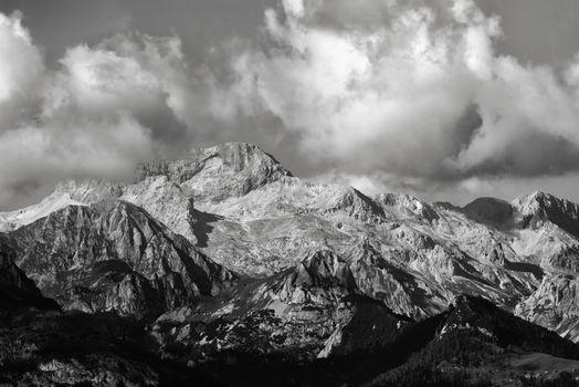 Triglav mountain peak in Slovenia, black and white