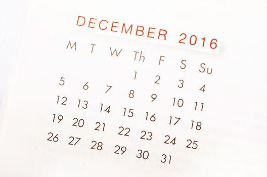 Close up calendar of December 2016