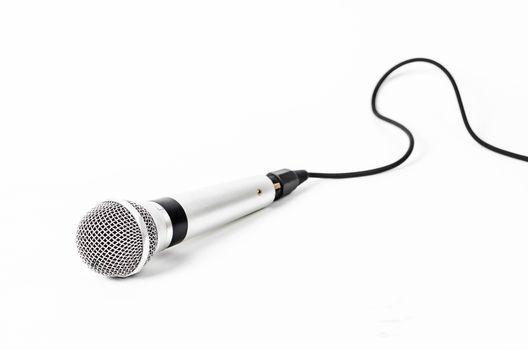 Silver handheld ball head microphone.