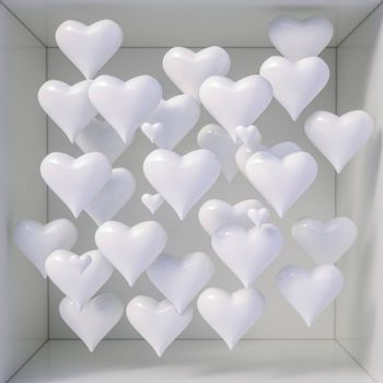 3d Hearts Shapes for Valentines Day Background and Weeding Design Elements, Be my Valentine, Hearts on Abstract Love Background, Love Romantic Messages with Hearts, Valentines Love Day