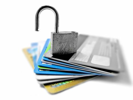 Hacked and vulnerable unsafe unsecured identity and financial theft concept