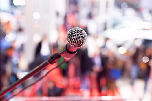 Microphone in focus against blurred background
