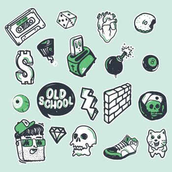 Fashion patch badges with old school elements with white tracings. Colorful vector illustration isolated on color background. Set of stickers, pins, patches in graffiti style