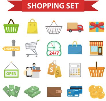 Shopping icon set, flat style. Shop icons collection isolated on white background. Store objects and items. Vector illustration, clip-art