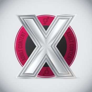 Pink adult content badge design with huge metallic triple X in center