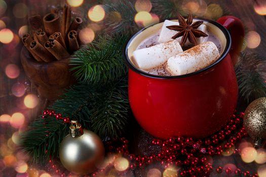 Red mug with hot chocolate