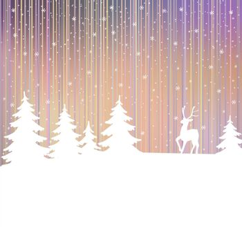 Christmas background. Winter landscape with deer. White fairy forest