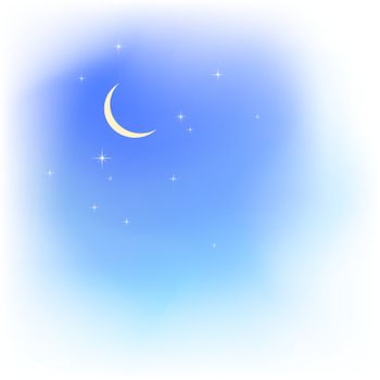 Blue sky in soft clouds with moon and stars. Fair weather. Evening sky. Blured clouds and sky vector background