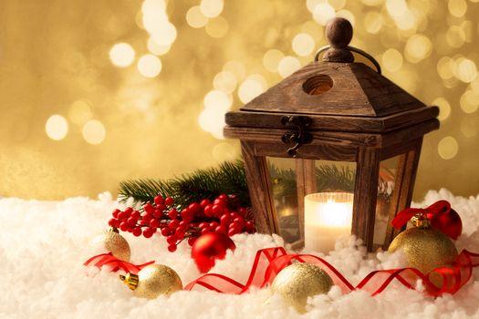 lantern and christmas decorations