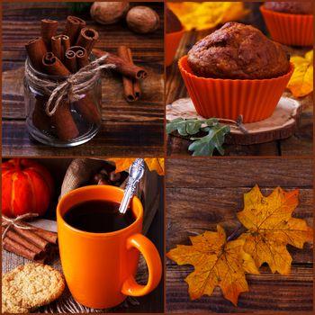 Autumn still life collage.