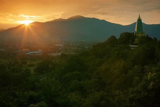 beautiful landscape sun rising sky and buddha pagoda in chonburi