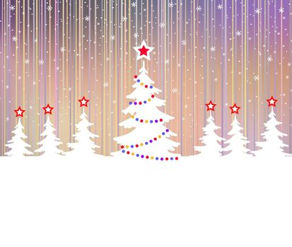 Christmas tree with star and garlands. Winter fantasy forest. Polar lights