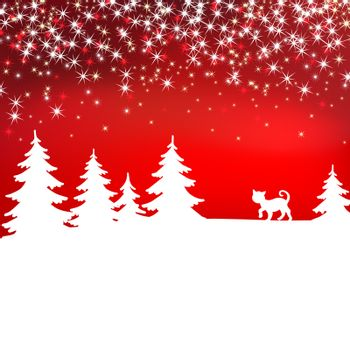 Christmas background. Winter landscape with cat. White fairy forest