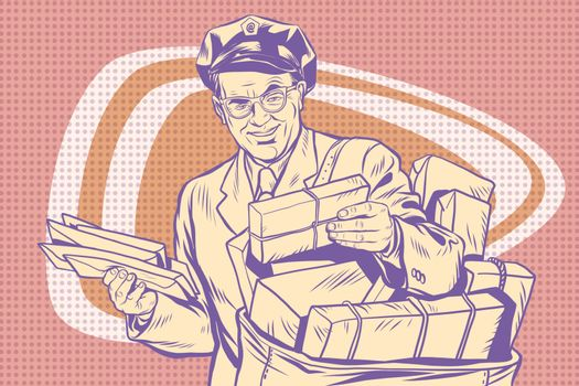 retro postman, delivering letters
