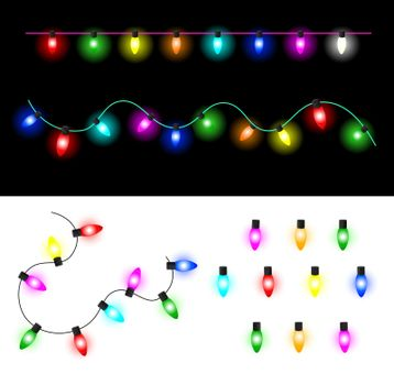 Garland of colorful glowing Christmas lights. Set of  light bulbs.