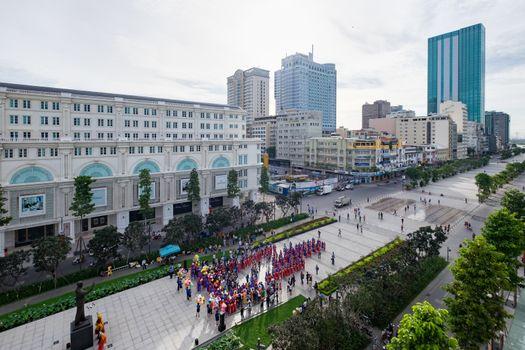 Mass wedding in front People's Committee building on Nguyen Hue Pedestrian Street. HO CHI MINH, VIETNAM 1/9/2015