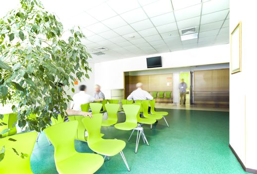 A light big hospital waiting room with a tree, green chairs and a personnel on an open door.