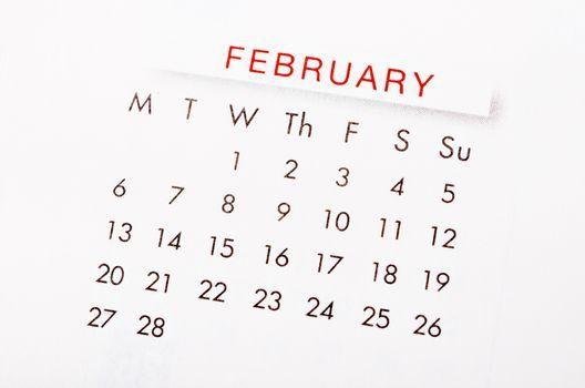February 2017 calendar.